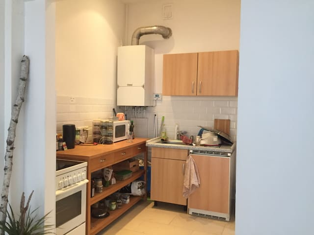 Kitchen with stove, oven and microwave