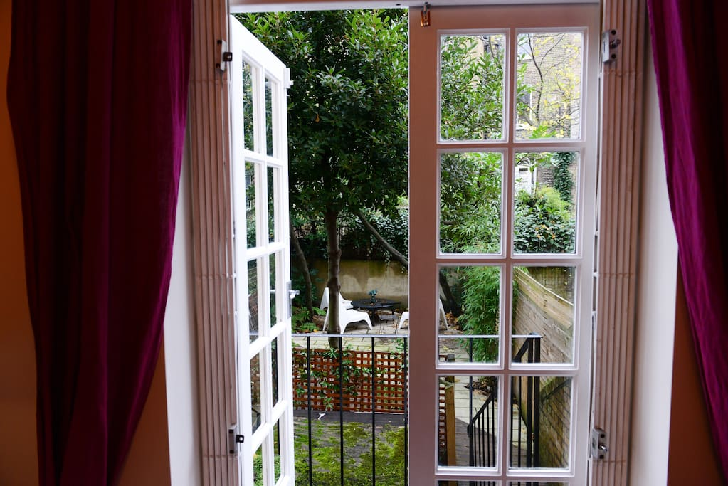 French doors from the sitting room to the garden