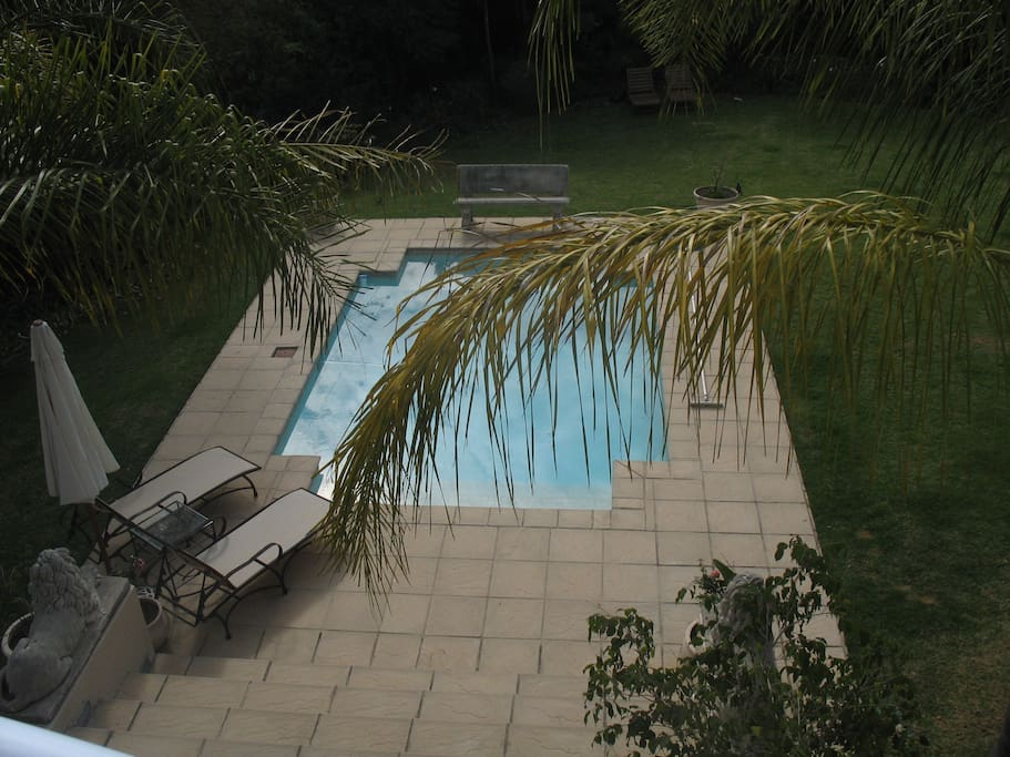 View of pool from upstairs patio