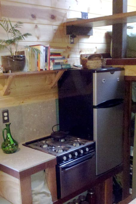 Propane stove and mid-size refrigerator