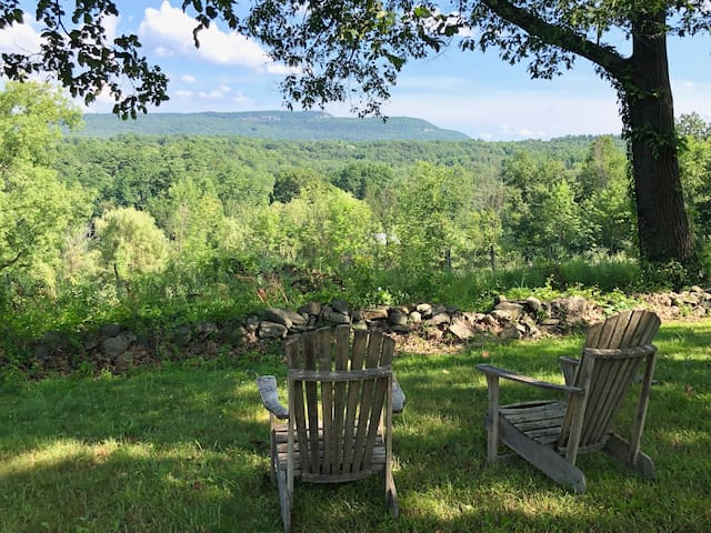 Guest chairs under the oaks and hickories, ridge in background