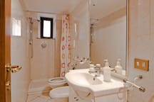 Bathroom for guest with shower, toilet, and sink.
