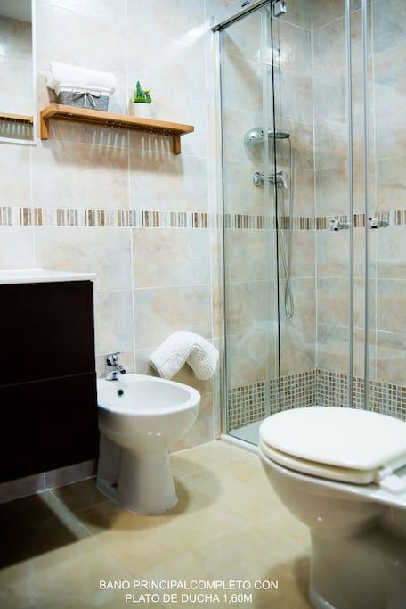 Baño privado del dormitorio principal con ducha de 1,60 cm