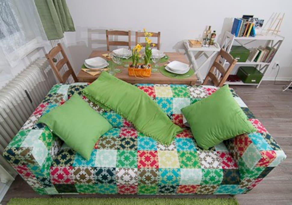 Wohnzimmer, Ess- und Relaxzone