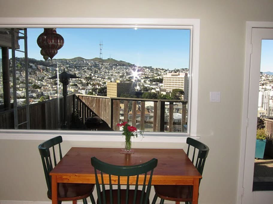 View from the kitchen of Twin Peaks/Sutro Tower