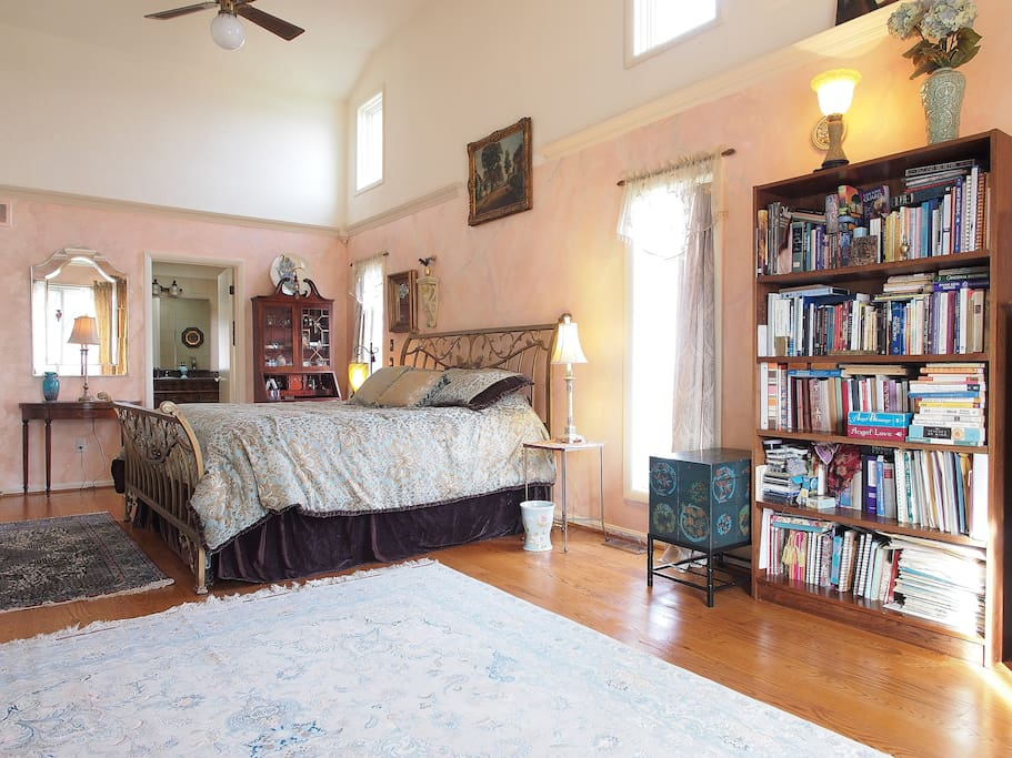 Master bedroom. King size bed has a Sterns and Foster hotel line mattress.