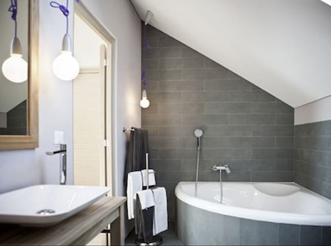 Bathroom with extra large tub