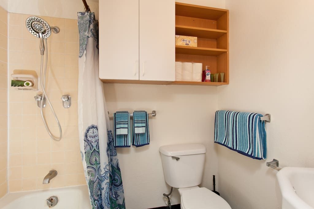 Full bathroom with shower and tub, plenty of towels and guest 'amenity' soap, shampoo & condition