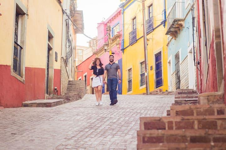 Explore colorful alleys