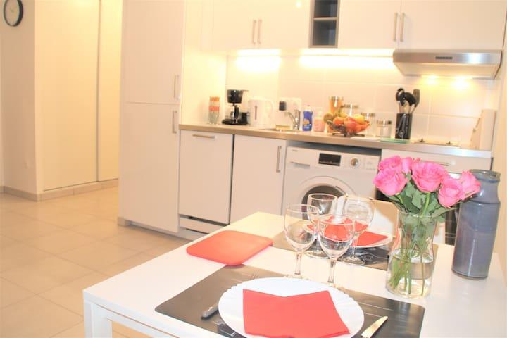 Fully equipped, cozy apartment (1 metro to Paris)