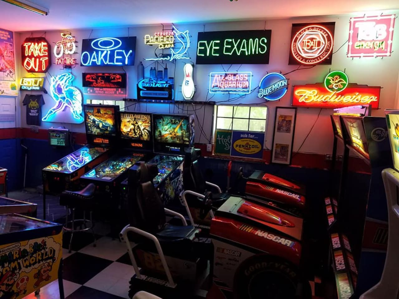Some of our neon light collection and our newly acquired Avatar pinball game! 9/7/19