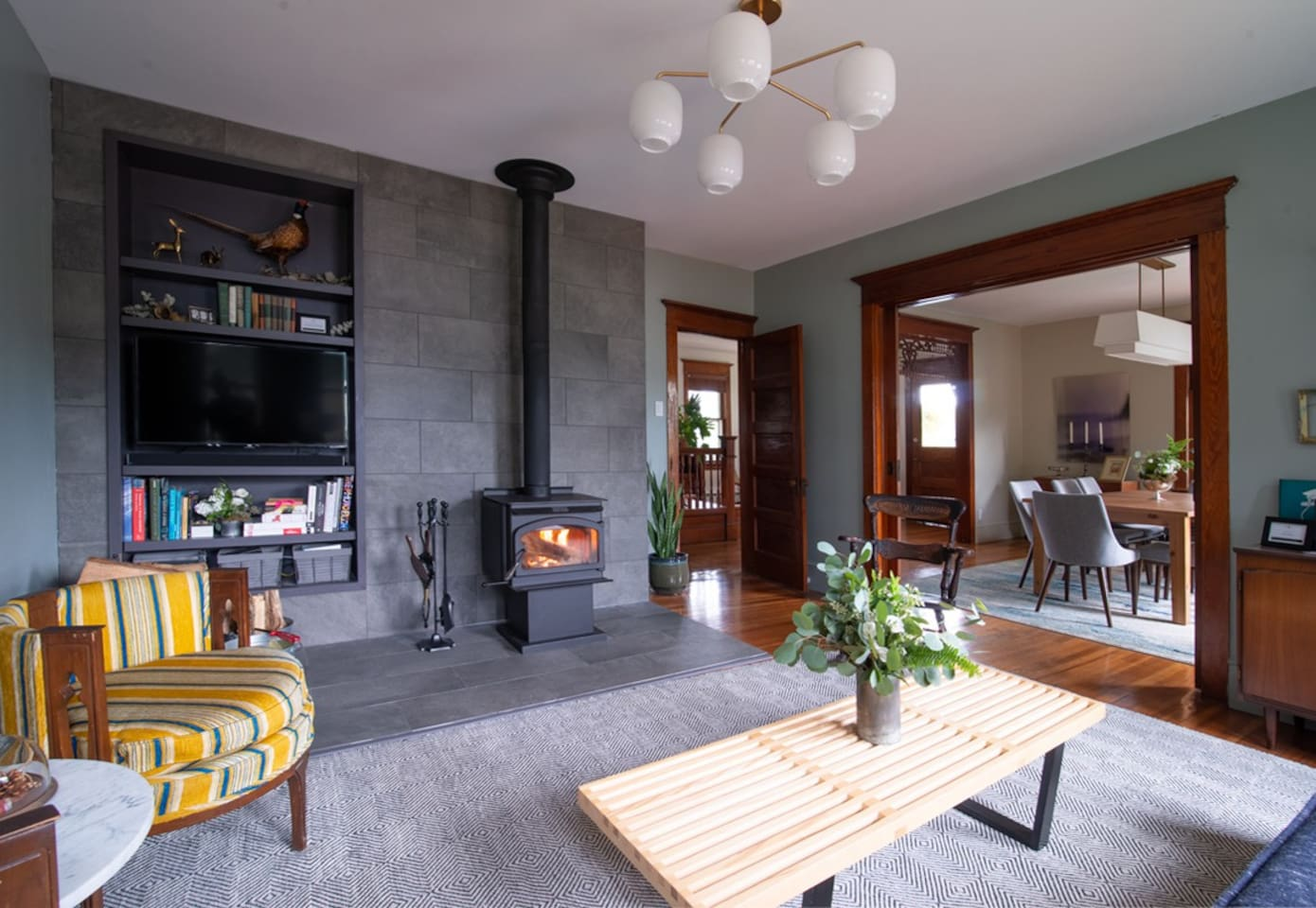 Enjoy some quiet time by the wood burning stove, watch a movie in surround sound, spin some classic records or just enjoy spending time with friends and family.