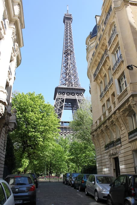 Our building to the right of the Eiffel Tower
