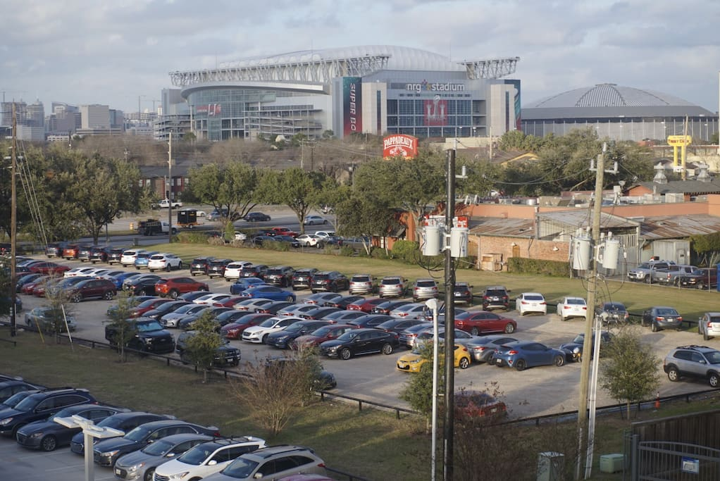 View of the stadium from the building parking lot