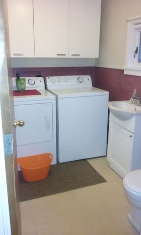 shared 1/2 bath and laundry