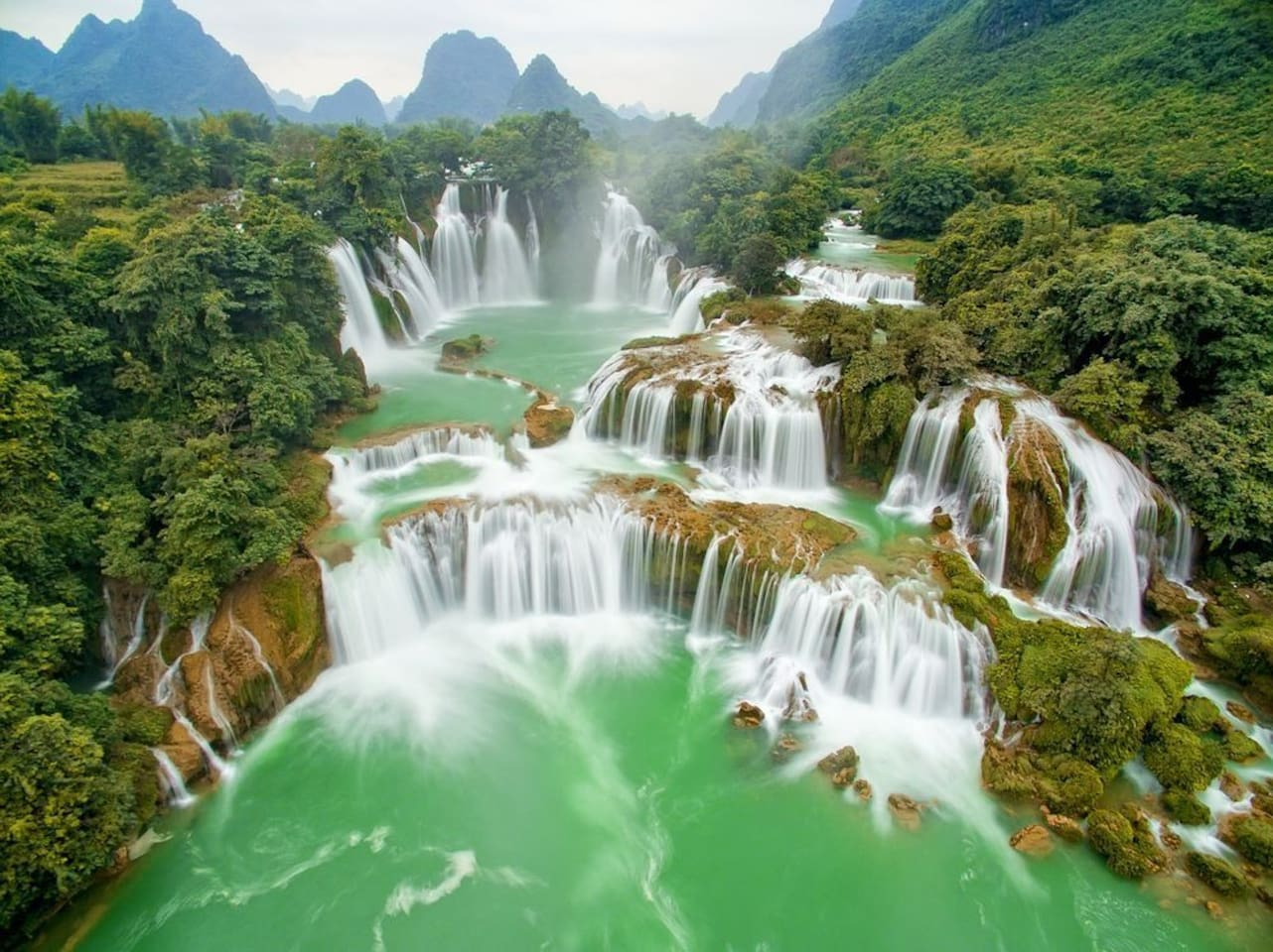 Ban Gioc Waterfall is one of Vietnam's best-known waterfalls.