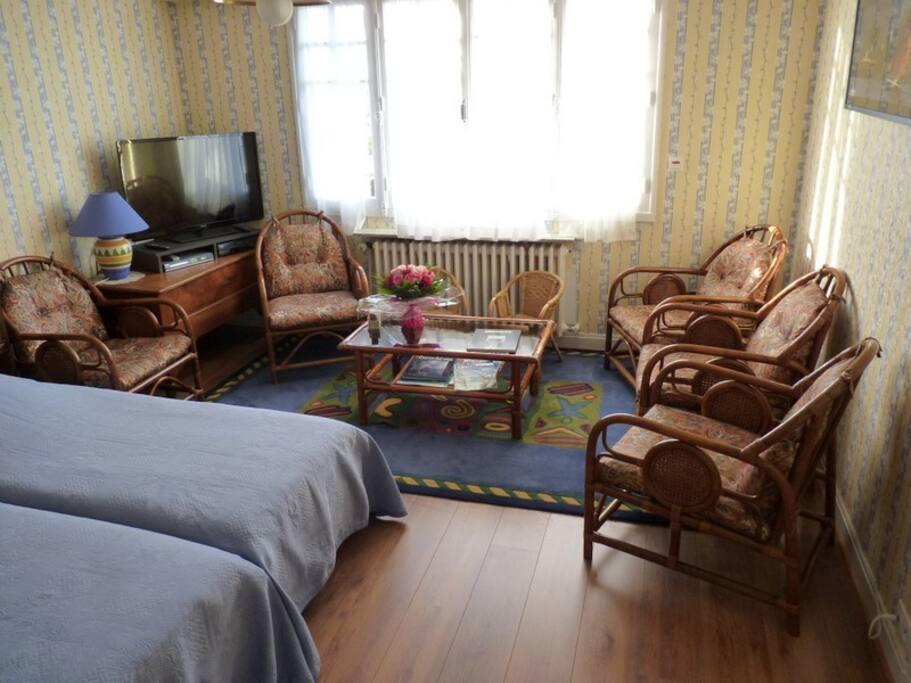 télévision écran plat, 5 fauteuils confortables