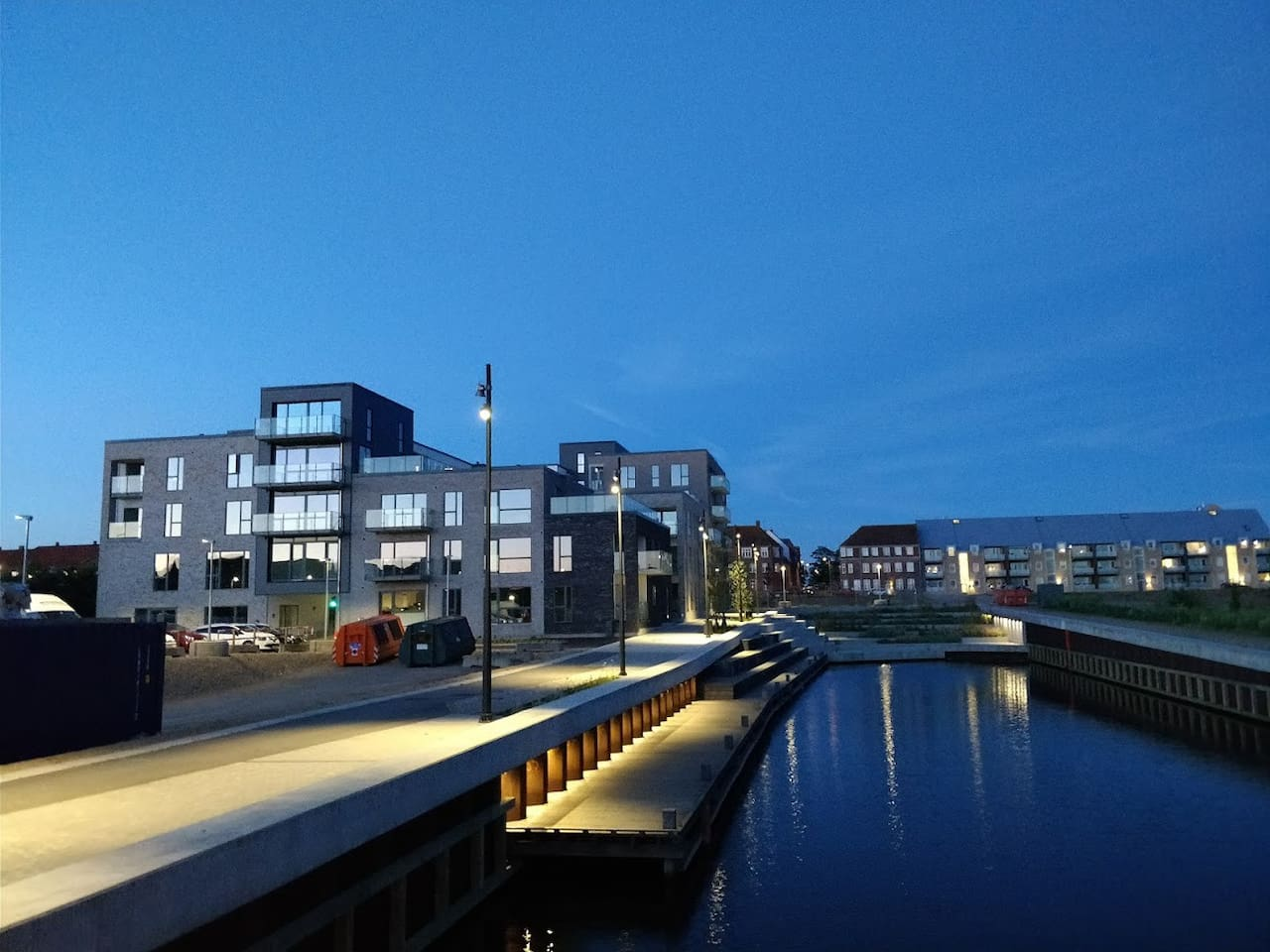 The new canal area right next to the apartment. Perfect for walking and going for ice cream or similar around.