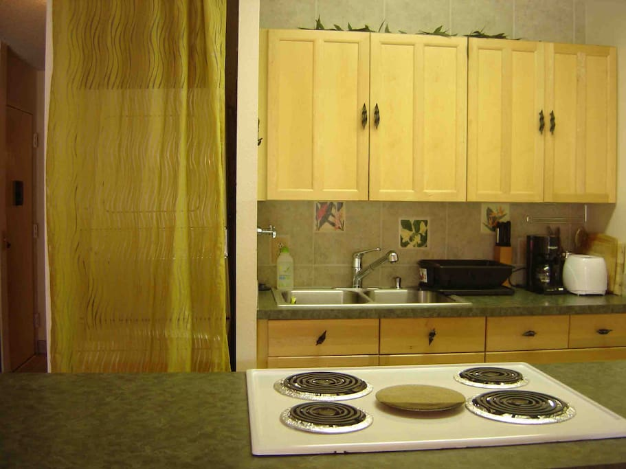 Full kitchen includes a fridge, stove/oven, coffee maker, toaster, microwave & W/D