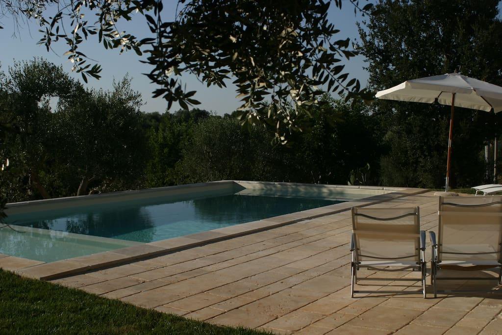 Pool and view at Trullo Solari