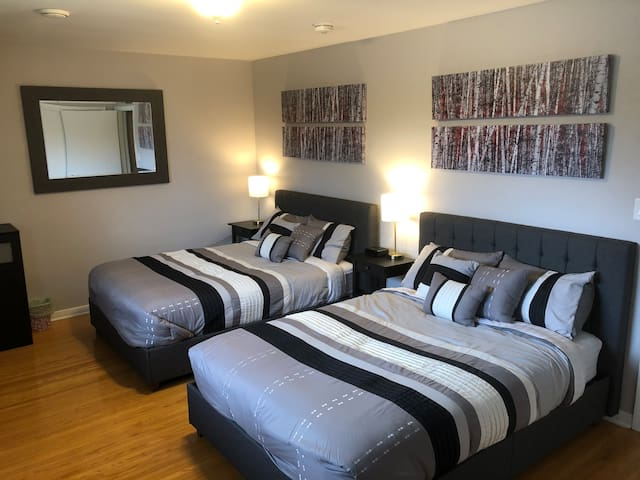 Bedroom 3 comes complete with 2 double beds, 2 night tables, alarm clock with rear USB ports for your electronic devices and large window