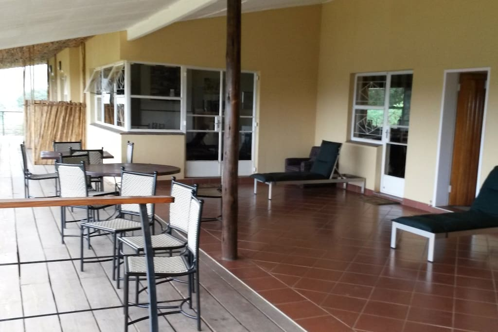 Spacious covered patio communal area