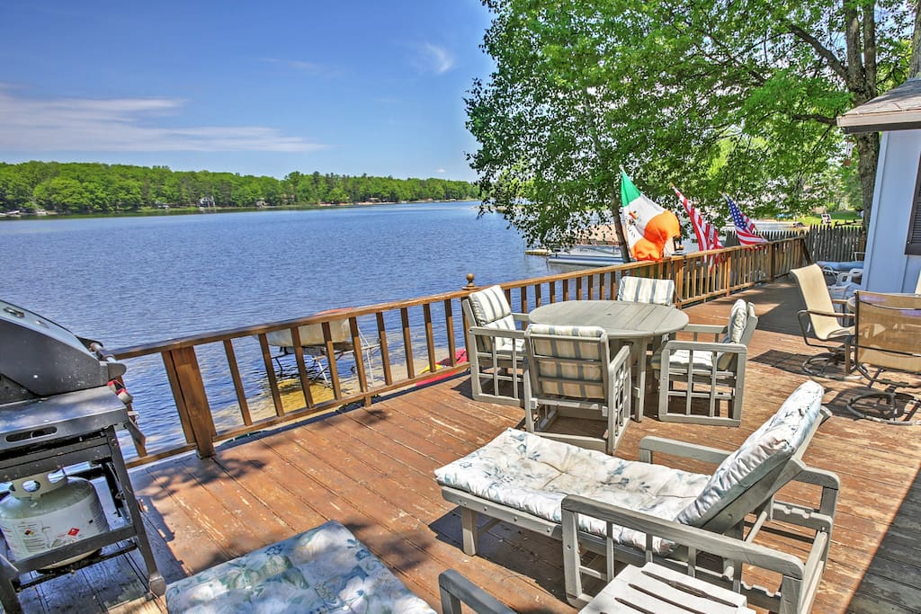 Enjoy expansive lake views from the huge private deck.