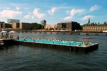 The Badeschiff is a floating swimming pool situated inside the River Spree, just at 10 minutes from the flat!