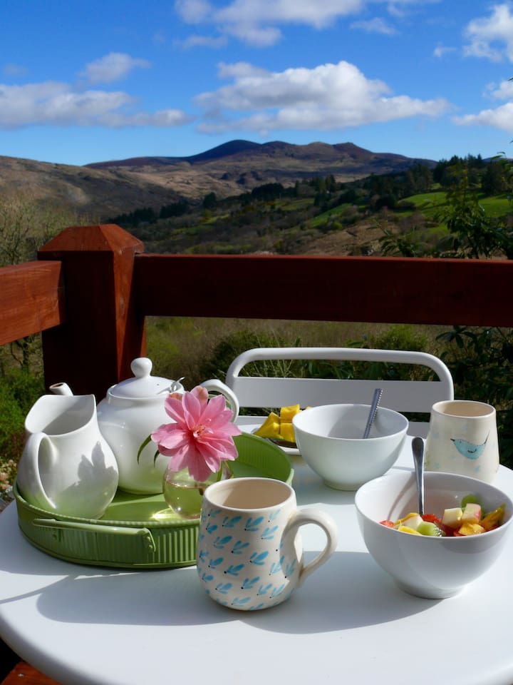 Enjoy breakfast on the balcony with stunning views