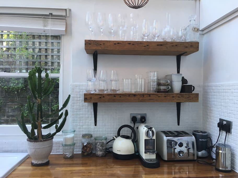 Kitchen comes equipped with kettle, coffee machine, toaster and nutribullet.