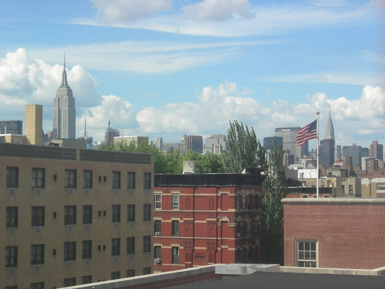 Great view of the Empire State building from living room windows