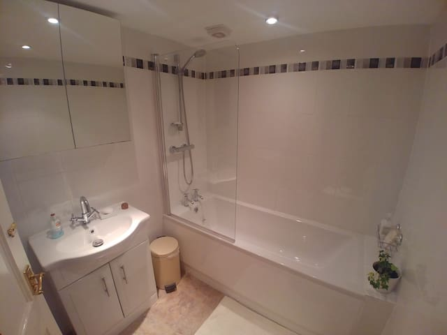 Sparkling clean bathroom with soaps, shampoo, towels and toiletries