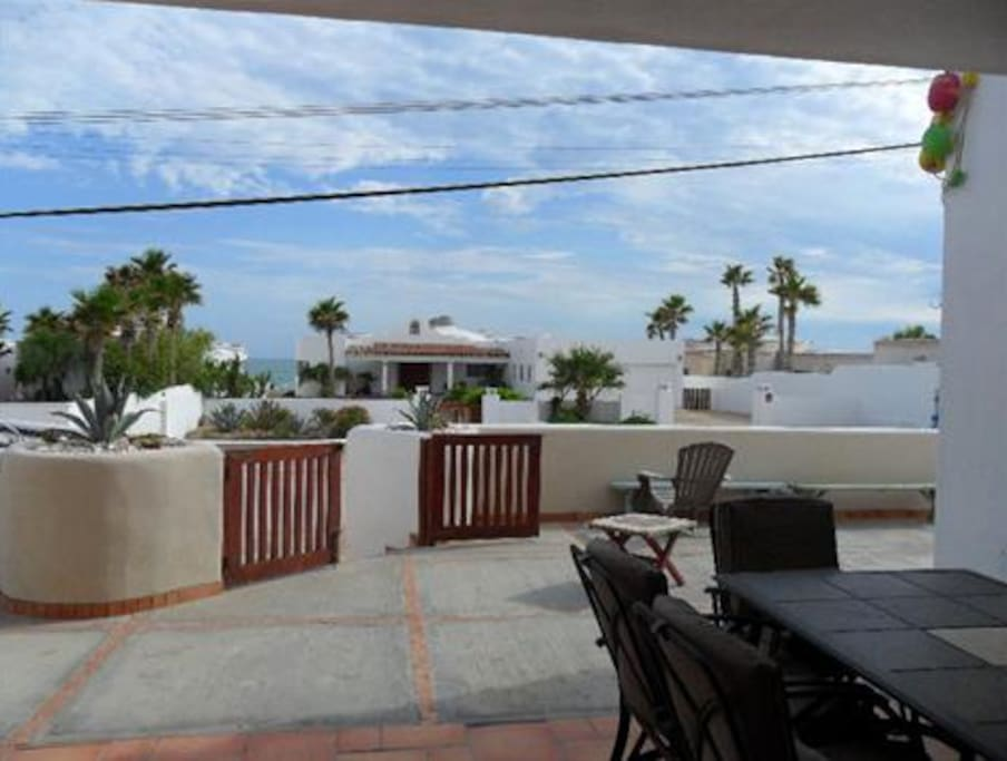 Front patio view. Looking south across the street from the Las Conchas beach.