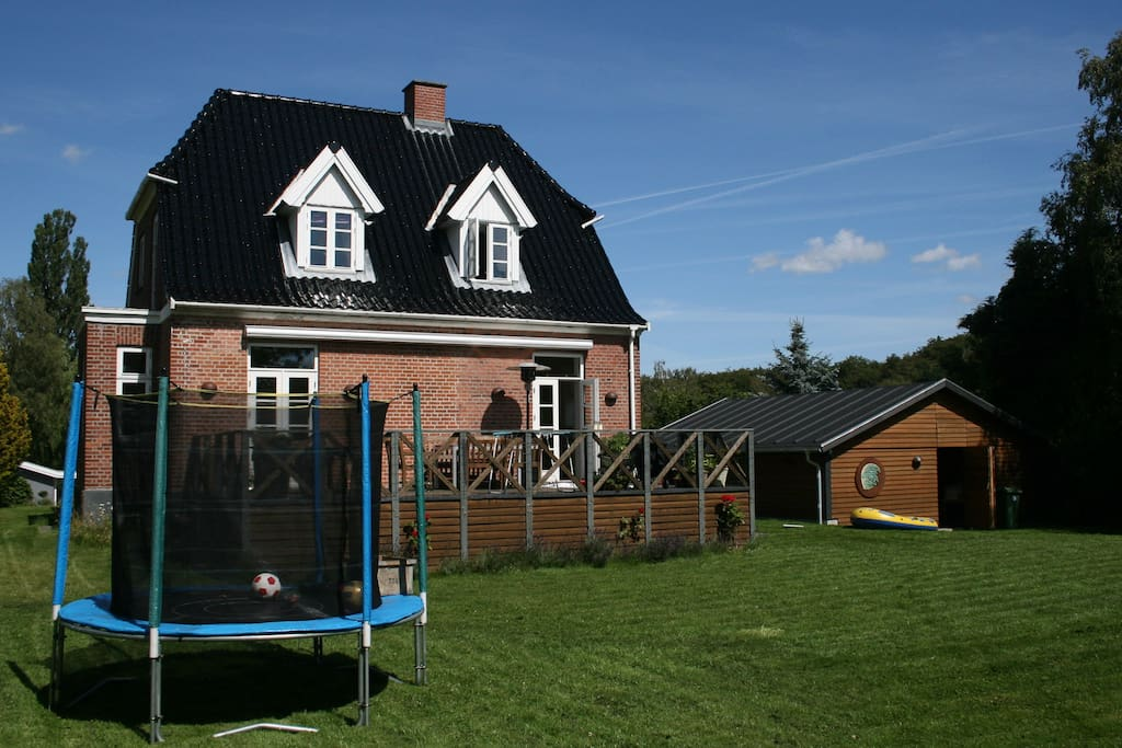 Summer means playing in the 1400m2/ 15000sq2 garden or lounging on the sun terrace (small trampoline is no longer there)