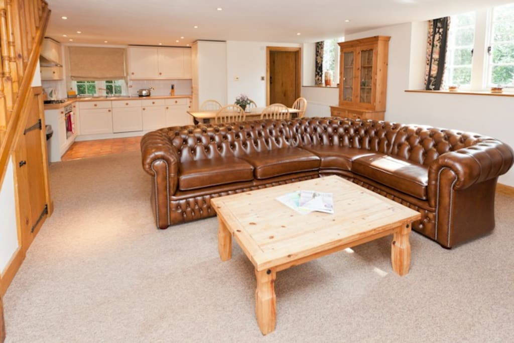 The open plan lounge, dining and kitchen area