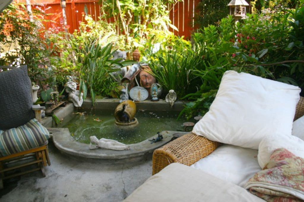 There is a loverly garden outdoor living area on the property that is fun to hang out in