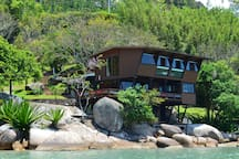 Beach house view from the sea
