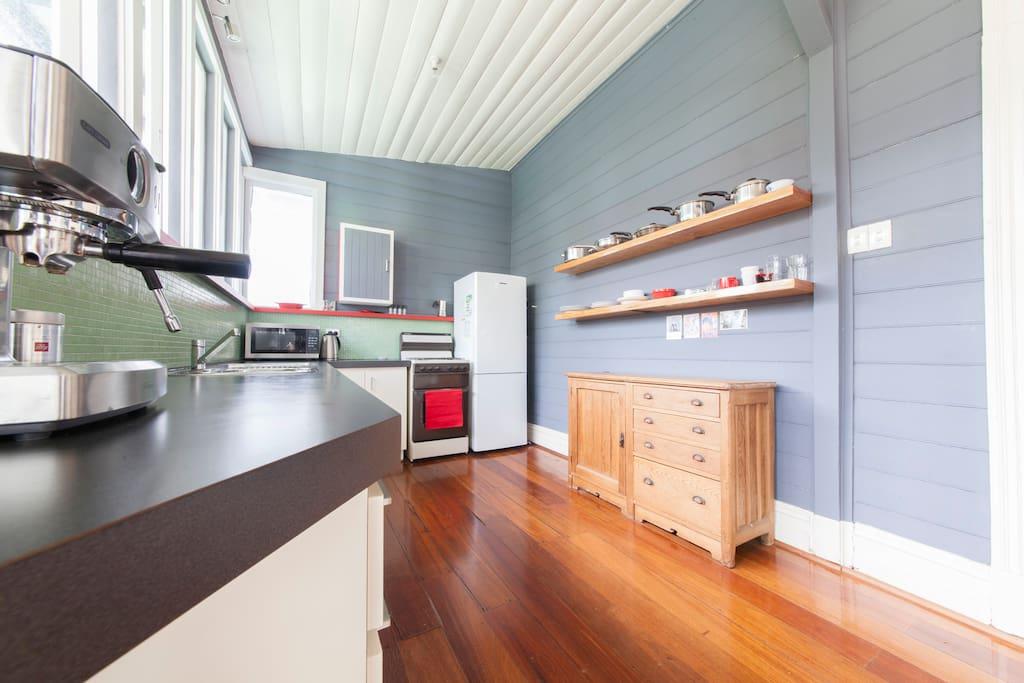 Kitchen - microwave, coffee machine etc