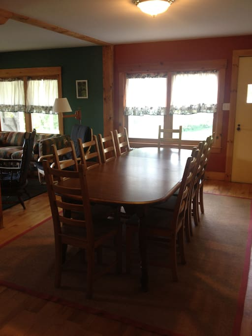 Dining table seats up to 10.