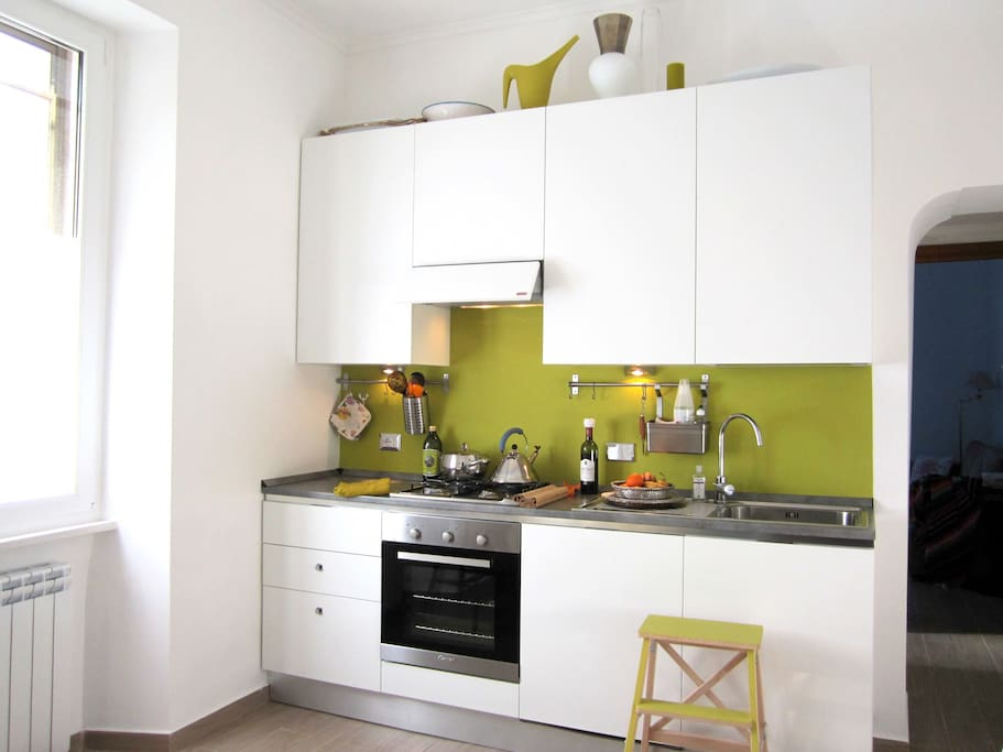 Fully furnished kitchen with dishwasher, oven, microwave oven, appliances etc.