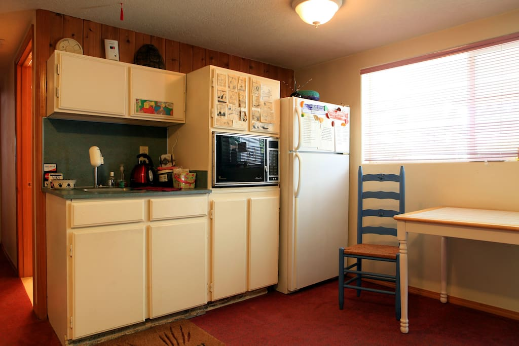 Kitchenette, which is where you walk in from outside.