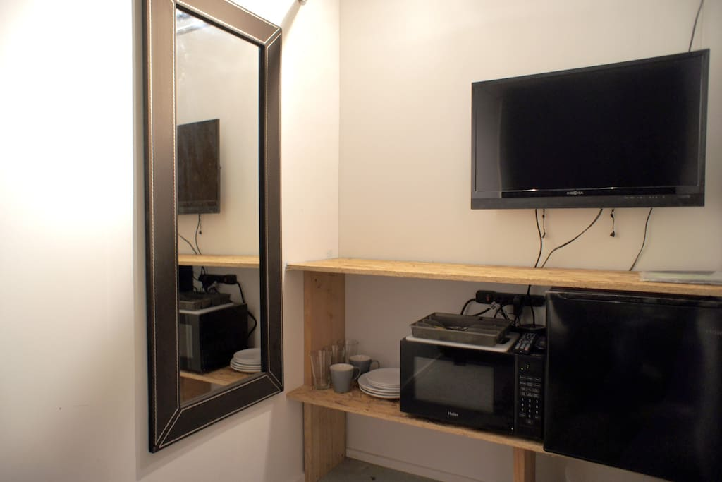 Your mirror and kitchenette