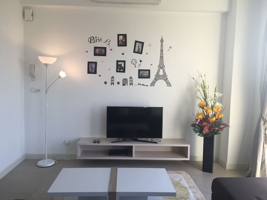Cosy living hall with TV and DVD player