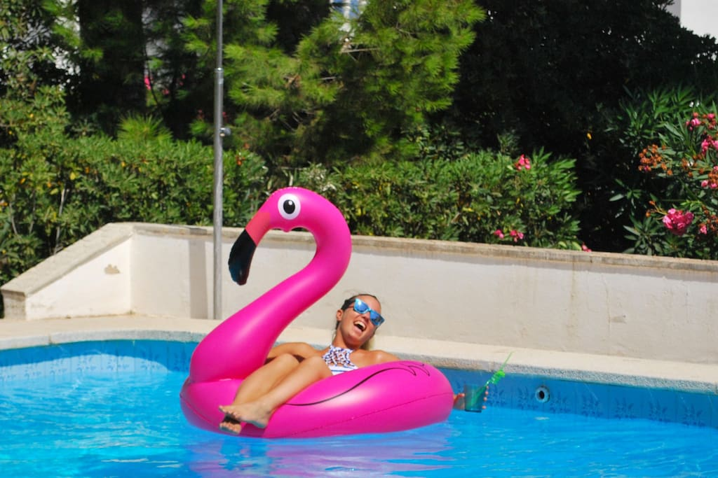 Private pool with giant flamingo