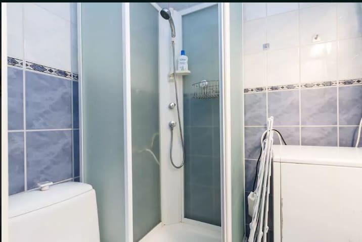 Shared WC,  shower, wash machine