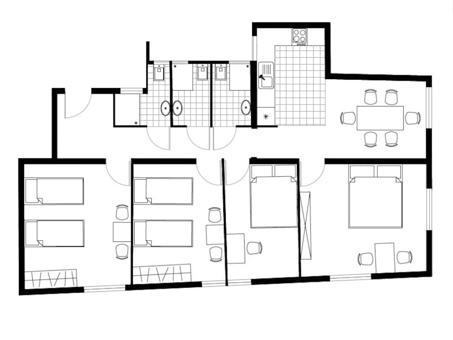 Our floorplan 4 rooms and 3 bathrooms