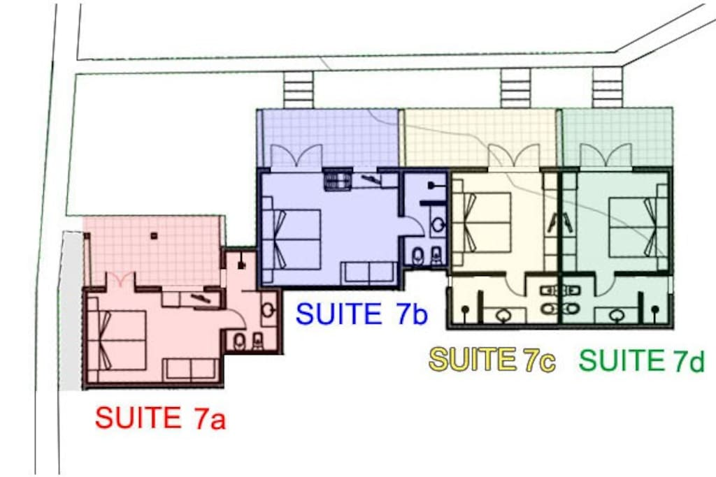 4 suites on the Park / floor plan suites/ 7c-7d for 2people-7a for 3people-7b for 4people