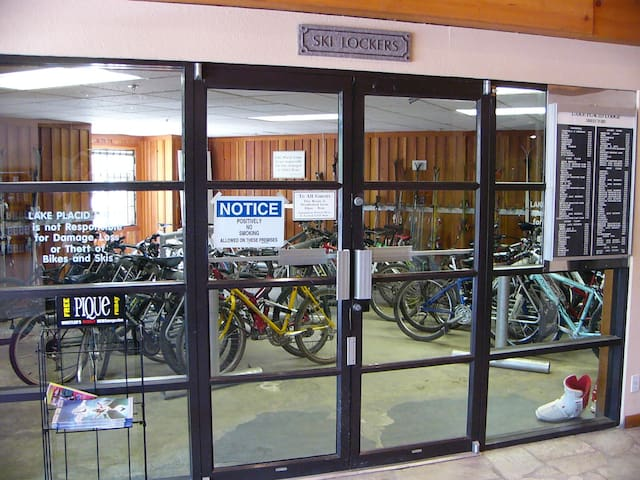 Secure Ski & Bike storage room.