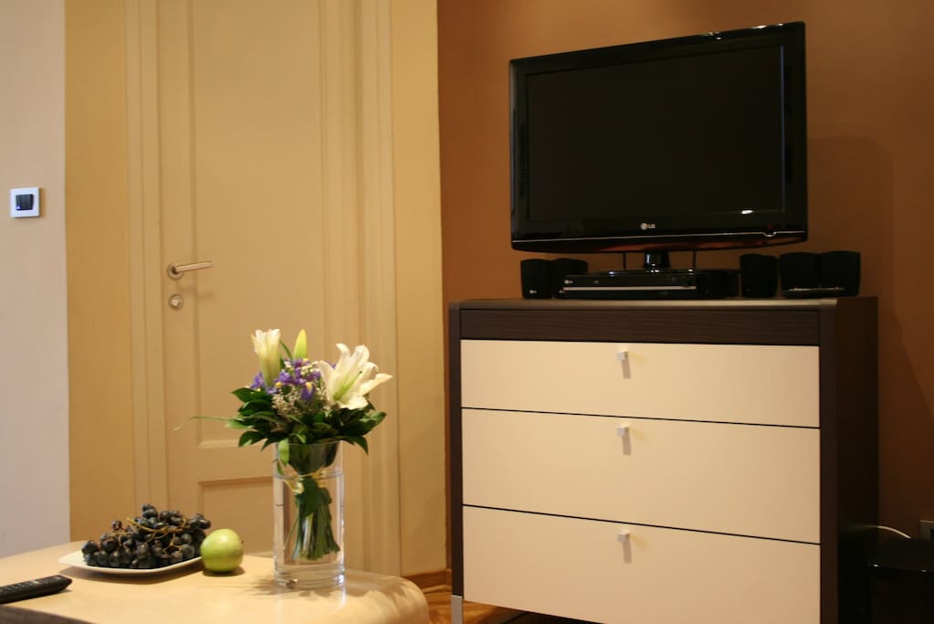 LCD TV with cable television and dvd player with surround
