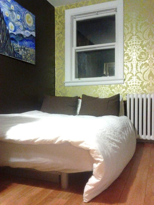 the guest room: the futon all pulled out